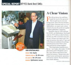 GKB Ophthalmics Bags Business Today Award