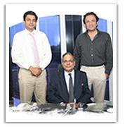 Mr. K.G.Gupta, CEO is flanked by Mr. Vikram Gupta on his right and Mr. Gaurav Gupta on his left.