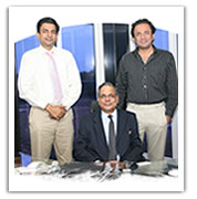 Mr. K.G.Gupta, CEO is flanked by Mr. Vikram Gupta on his right and Mr. Gaurav Gupta on his left.